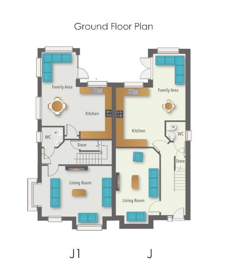 Glenmore Wood House Type J & J1 - Ground Floor